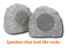 Speakers that look like rocks.